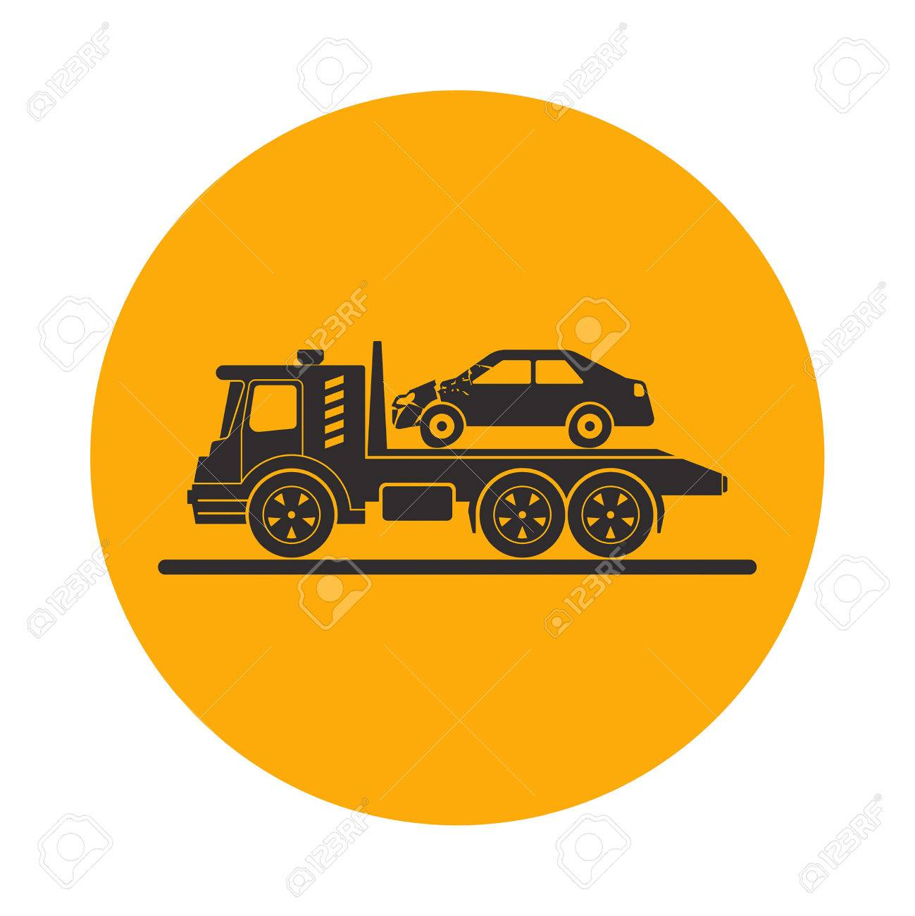 tow truck with broken car round the clock evacuation of cars