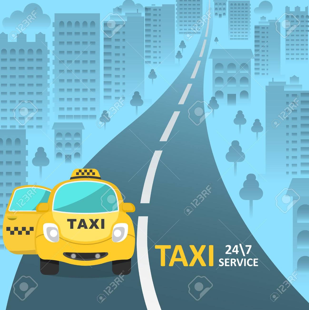 La Voiture De Taxi Avec Une Porte Passager Ouverte Sur Rue Ville Service Clientle Dun 24 Illustration Vecteur Dans Le Style