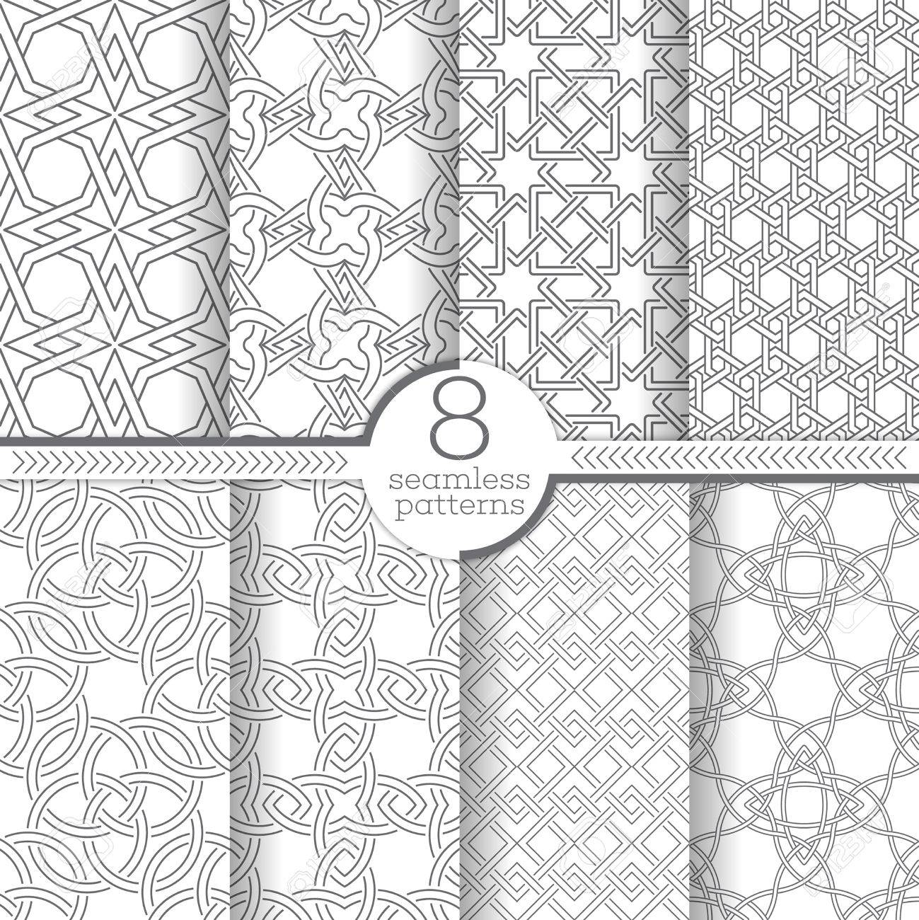 set of vector seamless patterns modern geometrical textures