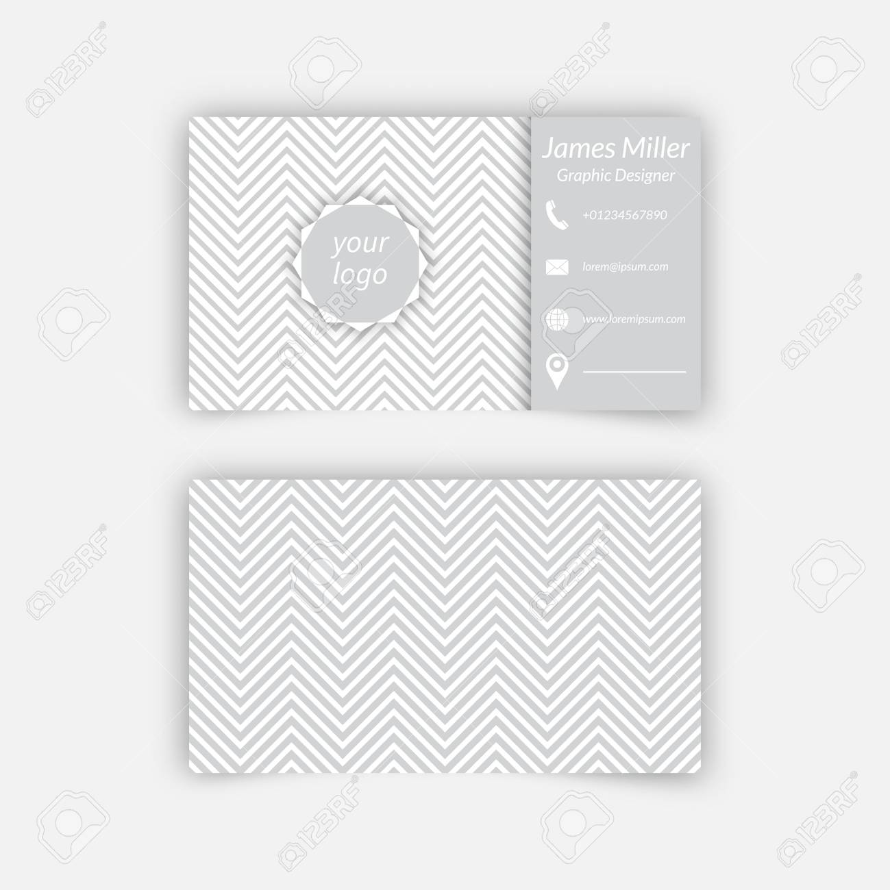 Business Card Blank Template With Textured Background From Zigzag ...