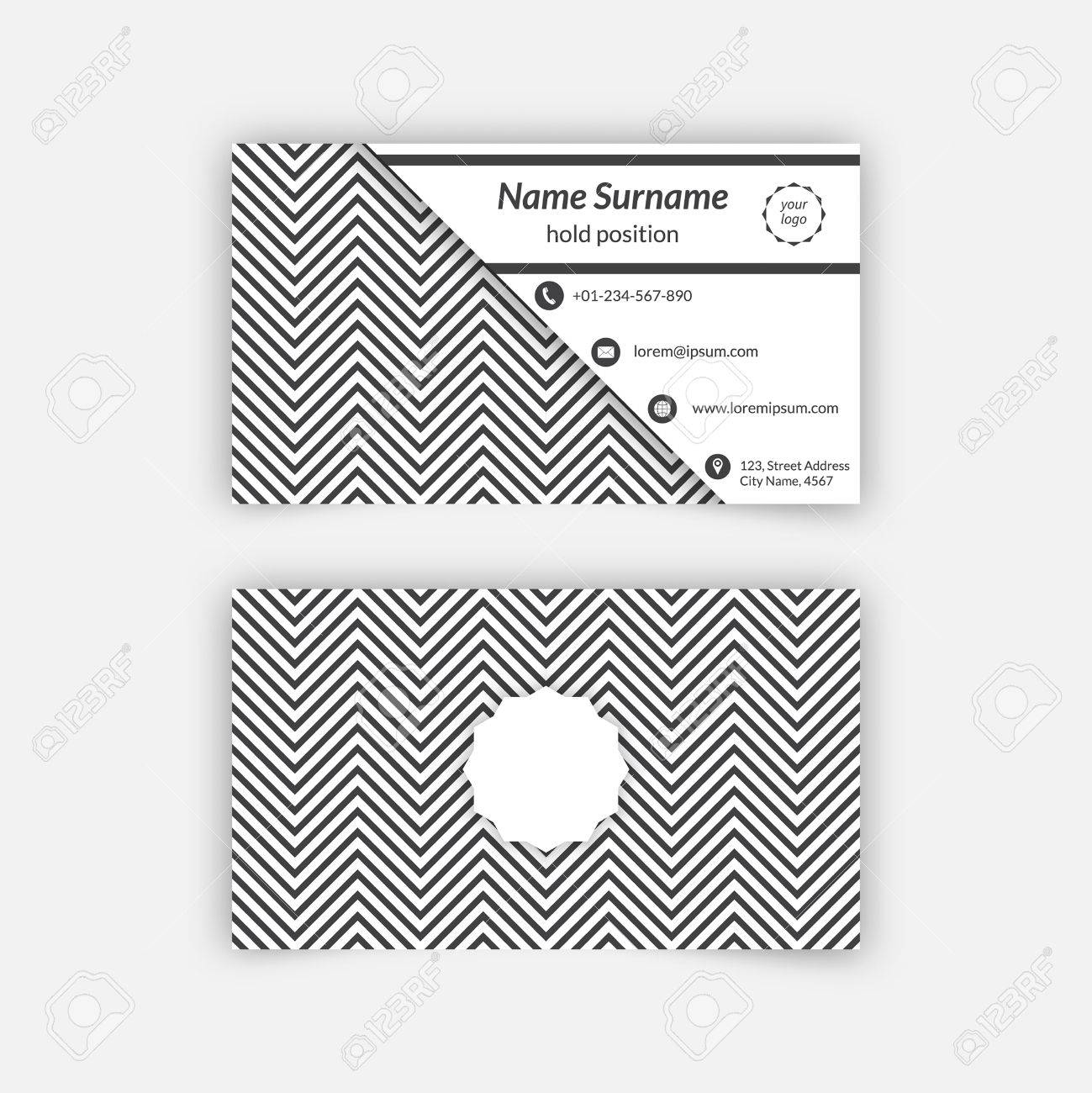 business card blank template with textured background from zigzag