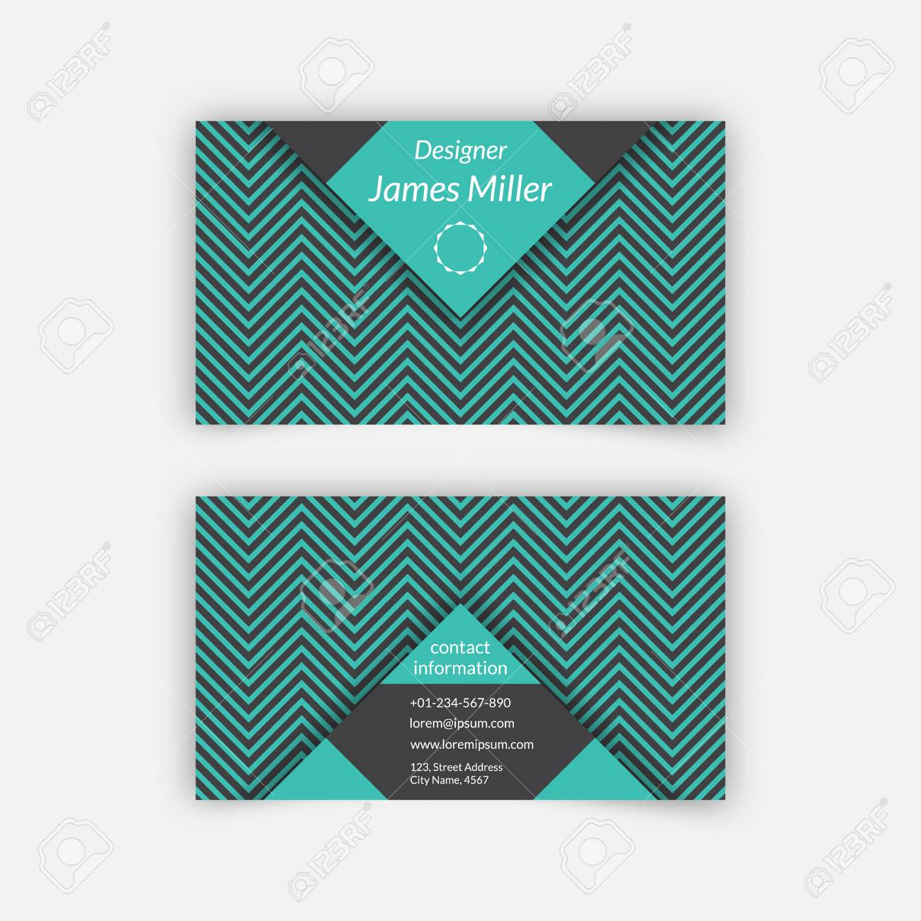 Business card blank template with textured background from zigzag business card blank template with textured background from zigzag strips and triangle shapes minimal elegant cheaphphosting Gallery