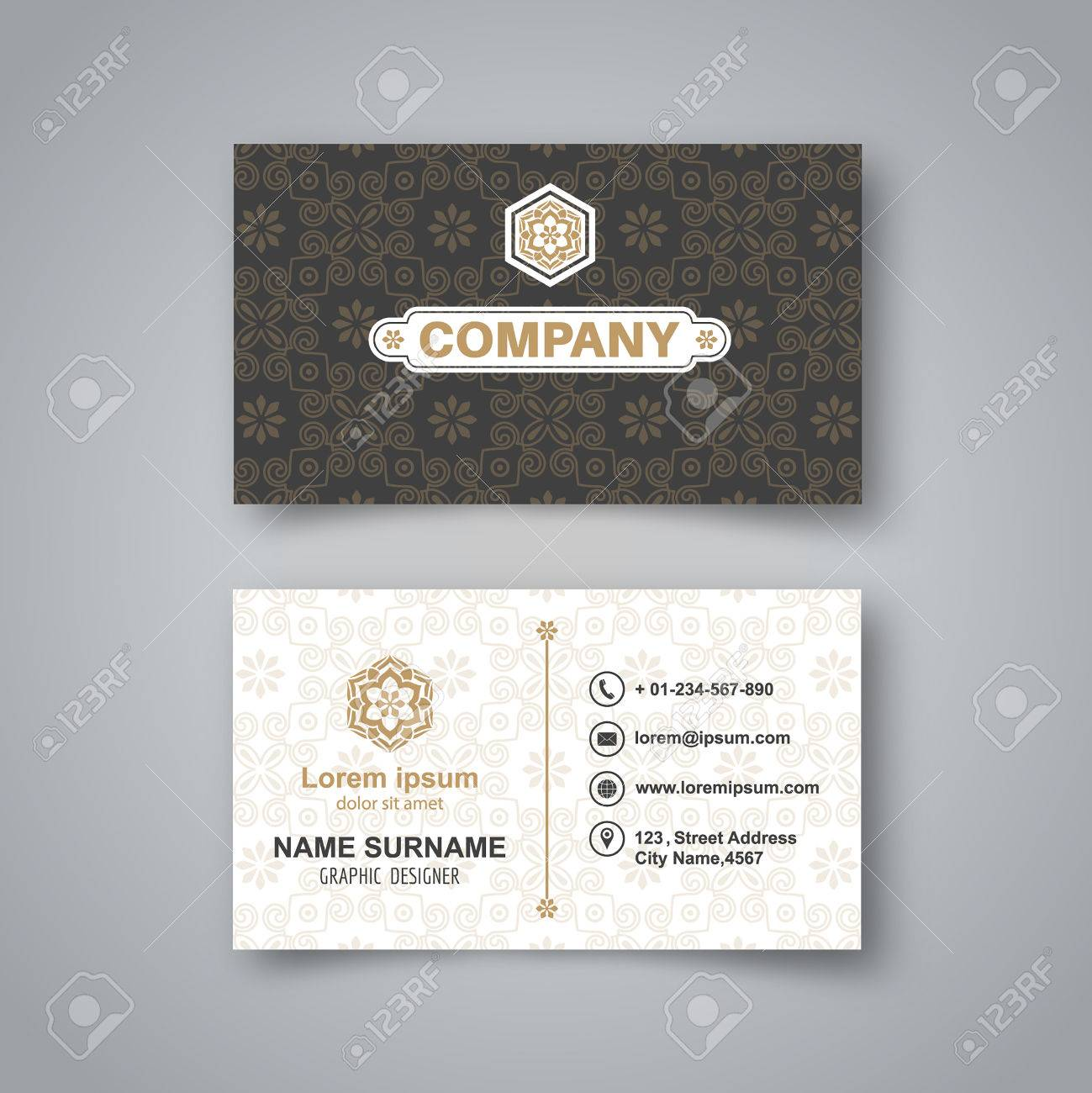 Blank Business Card Template With Flower Pattern And Realistic ...