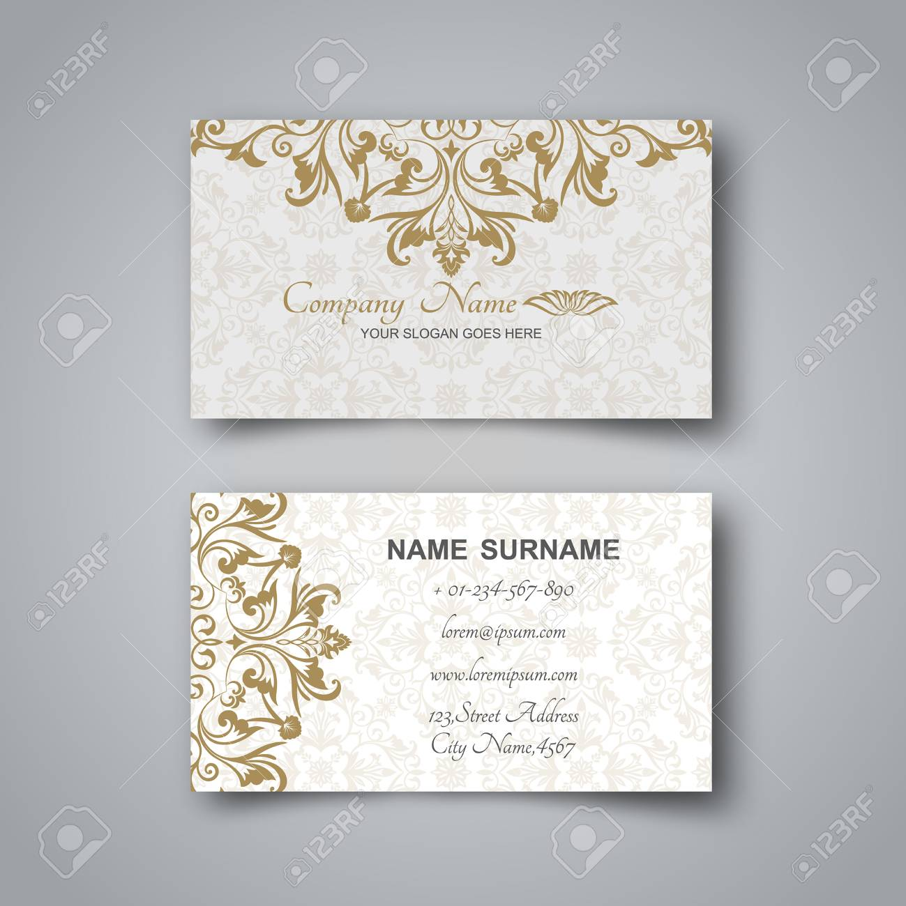 Blank business card on a gray background with the arab ornament and banco de imagens blank business card on a gray background with the arab ornament and a realistic shadow vector illustration reheart Gallery