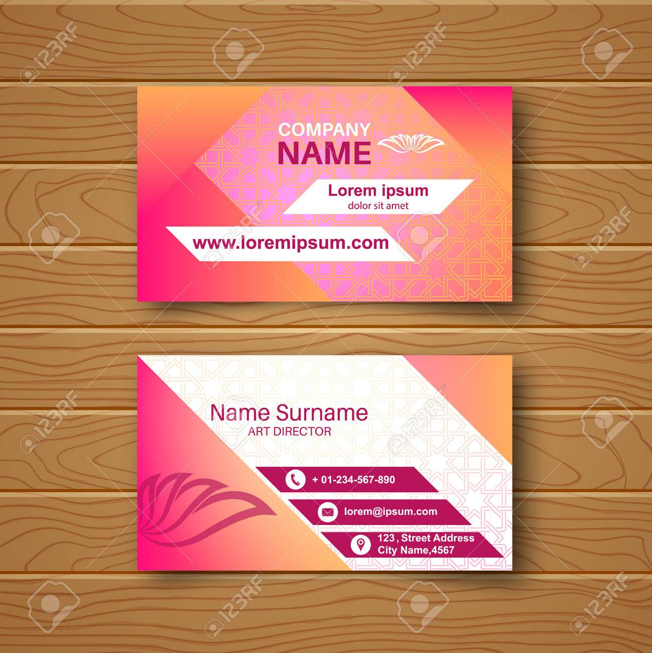 Blank Business Card On A Wooden Table With A Multi-colored Ornament ...