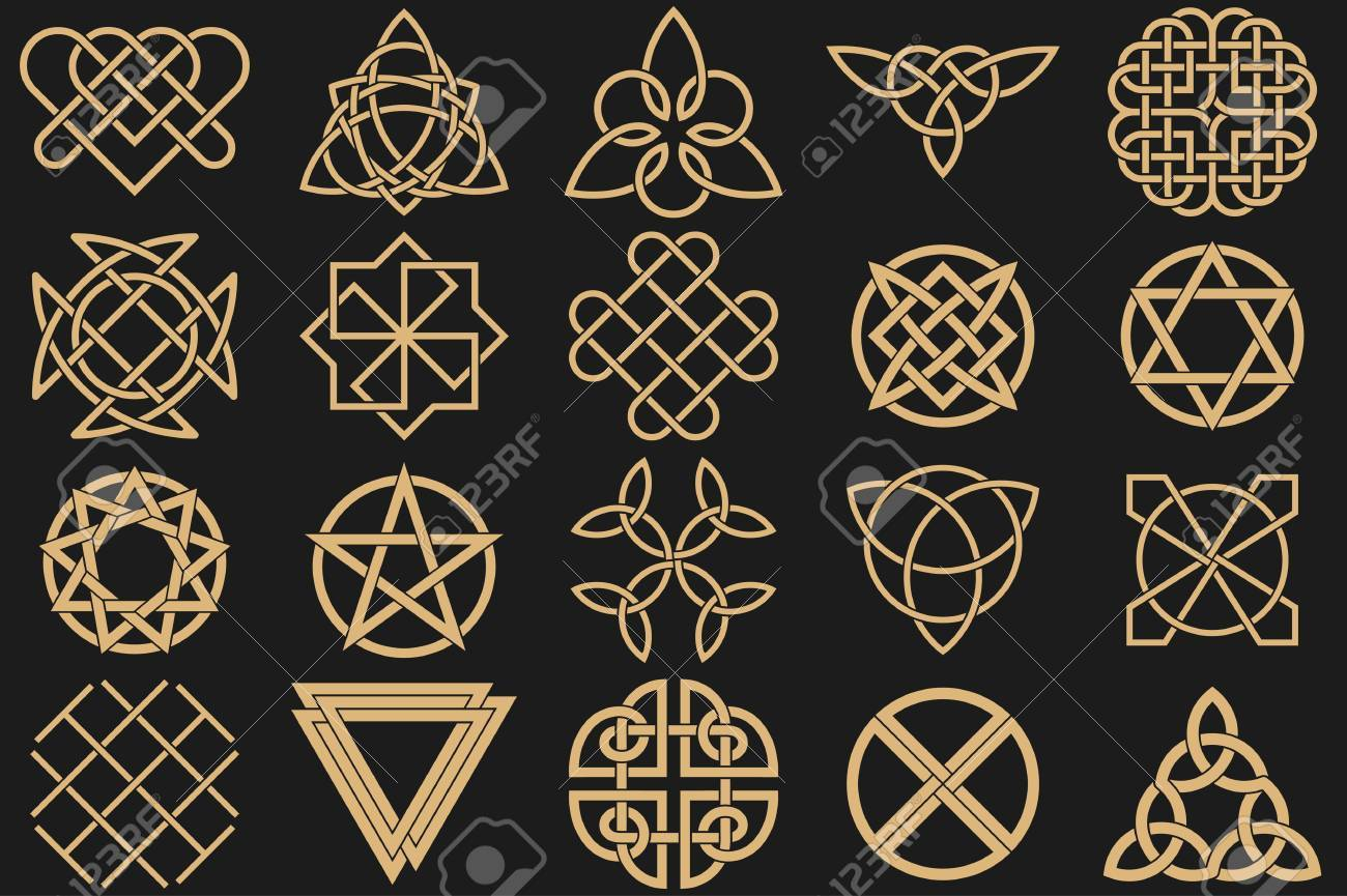 Set of ancient symbols executed in celtic style secret signs set of ancient symbols executed in celtic style secret signs knots interlacings buycottarizona