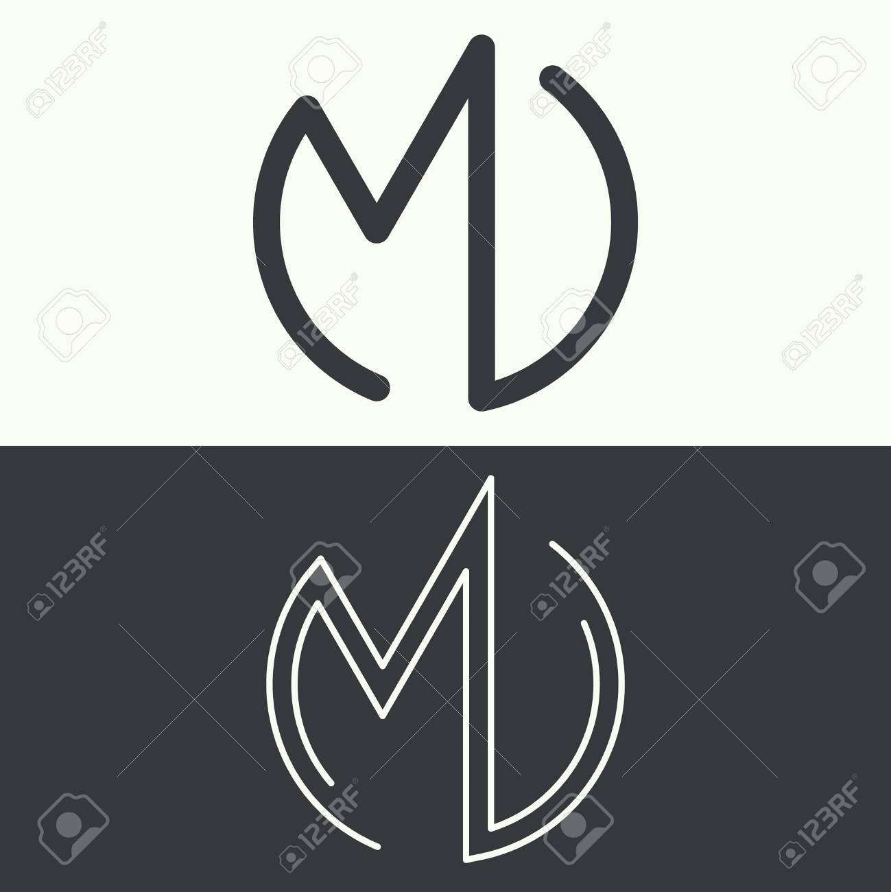 set of monograms of letters md logo simple linear style vector