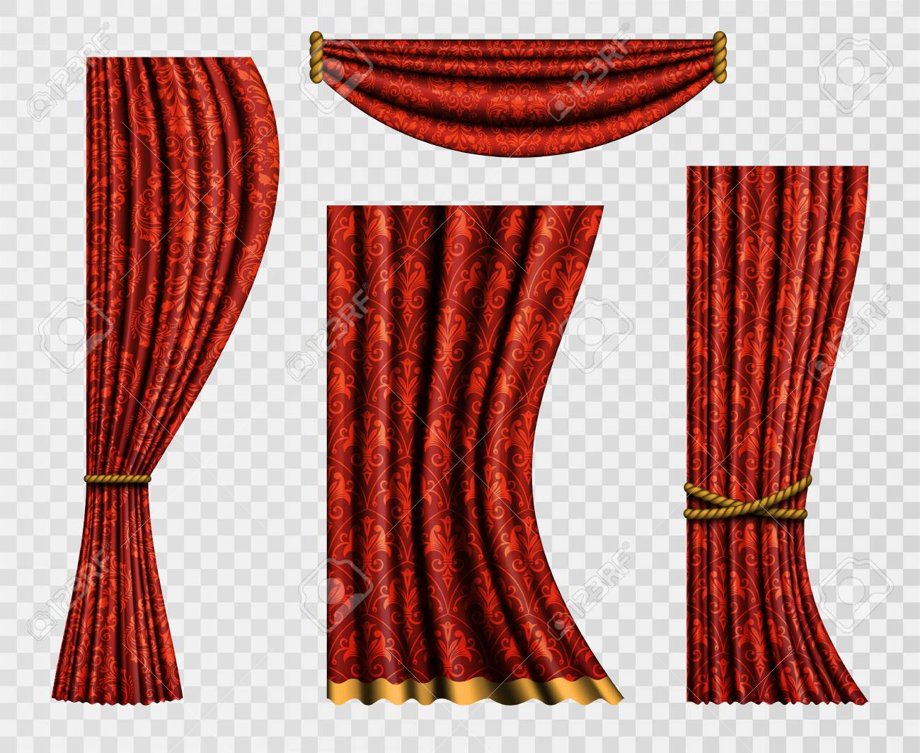 Set Of Realistic Curtains With A Pattern In Baroque Style Curtain Forms On Transparent
