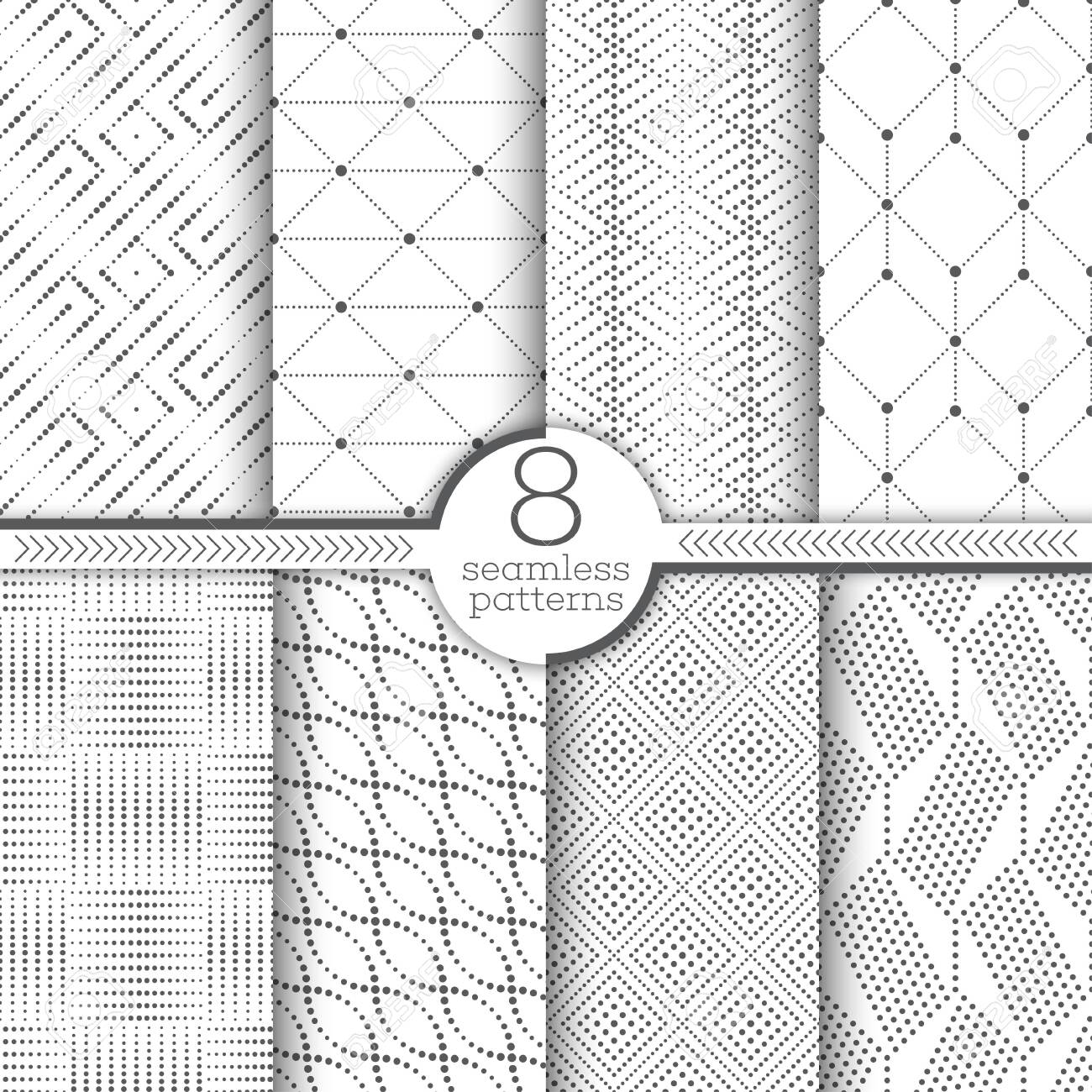 Set of vector seamless patterns. Modern stylish textures with small dots. Infinitely repeating geometrical ornaments with dotted shapes, rhombus, triangle, hexagon, square, diagonal oval - 120262798