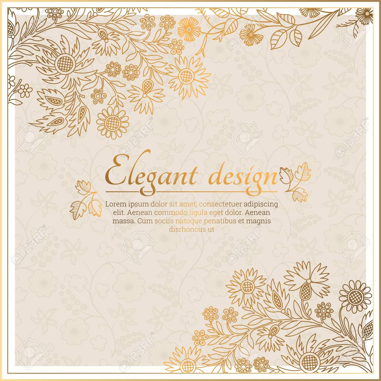 Baroque ornate frame with place for text. Stylish invitation card. Elegant greeting card. Vector element of graphic design - 147757371