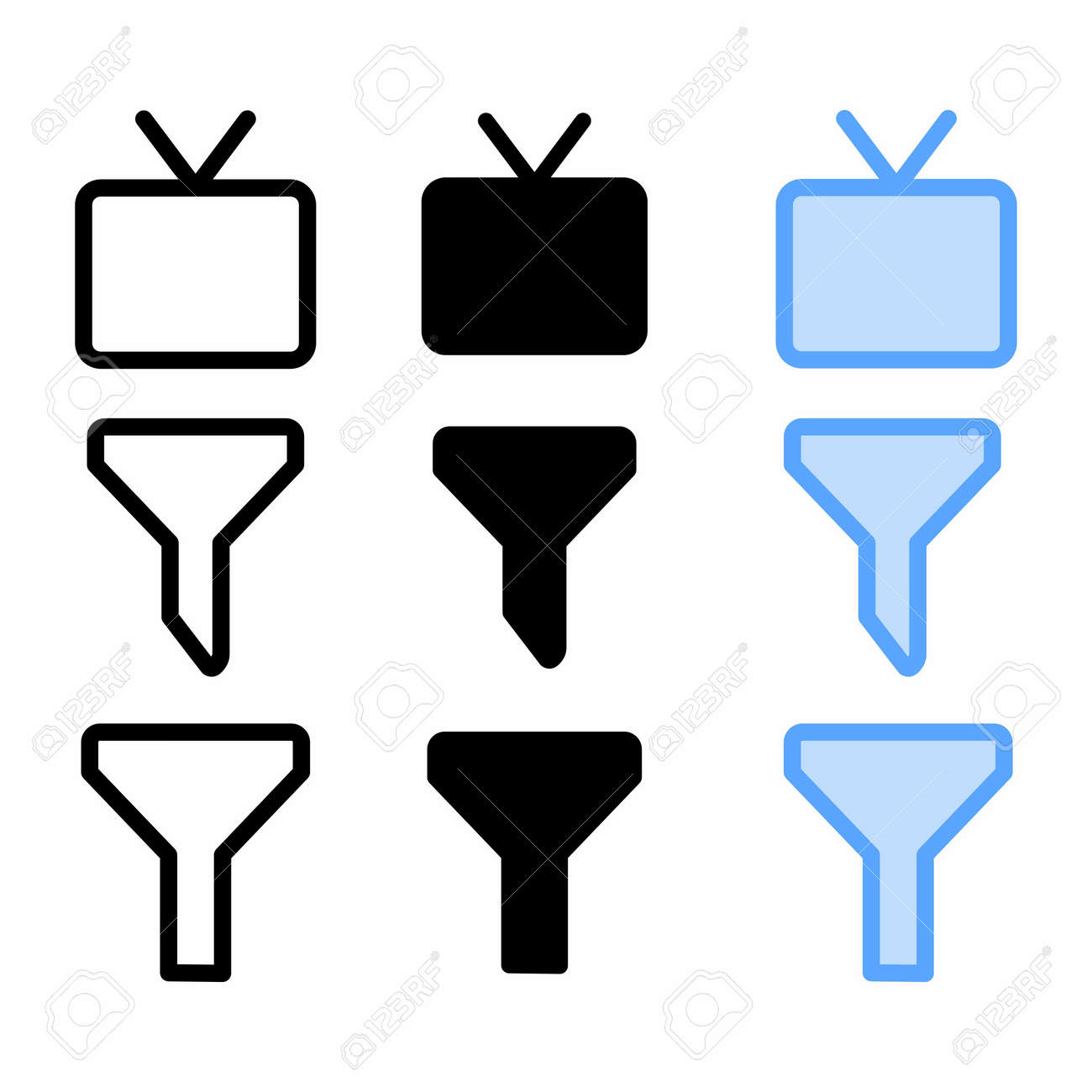 television icon with three style for website and user interface - 169314854