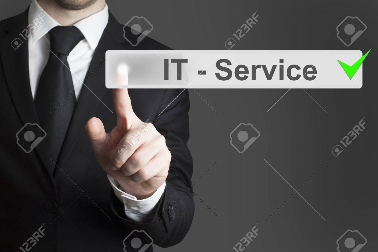 man in black suit specialist pushing button it service checked - 31013540
