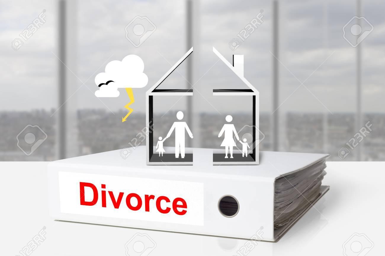 white office binder house divided divorce family thunderstorm - 31246618