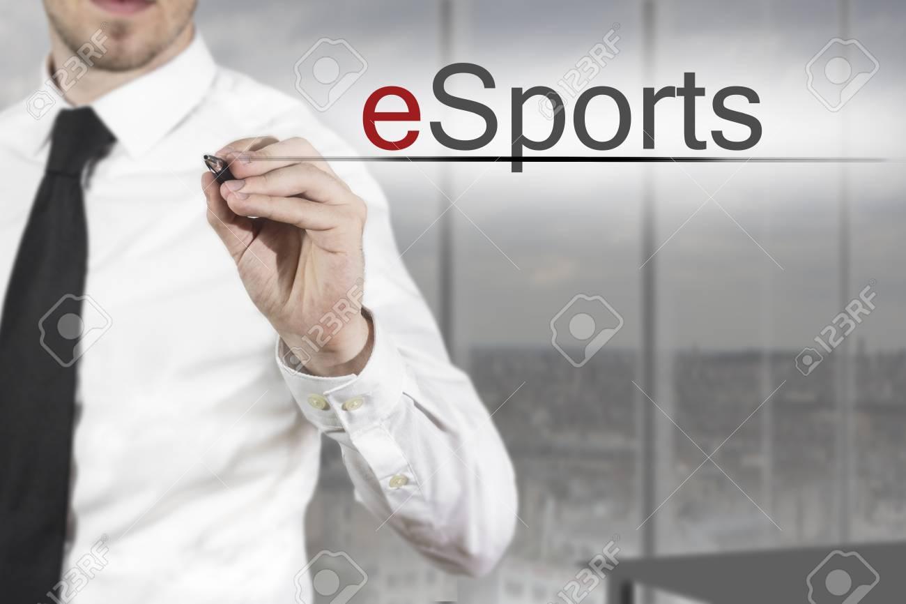 businessman necktie writing esports in the air office - 31429541