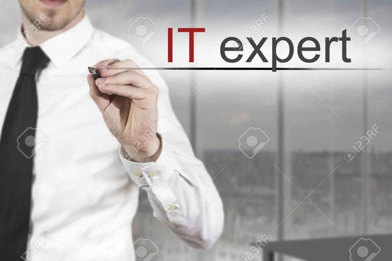 businessman in office room writing it expert in the air - 32292822