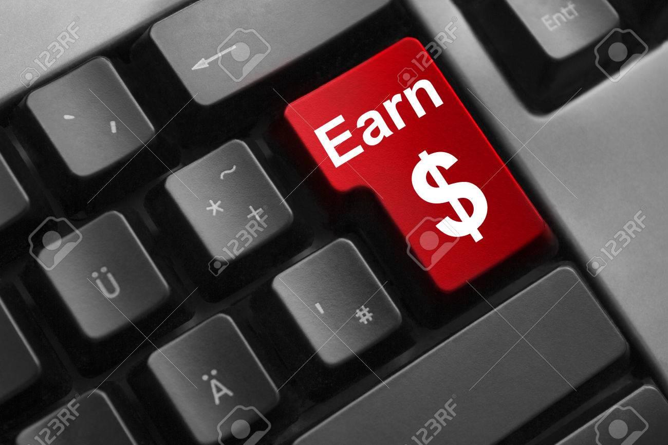 Dark Grey Keyboard Red Enter Button Earn Money Dollar Symbol Stock