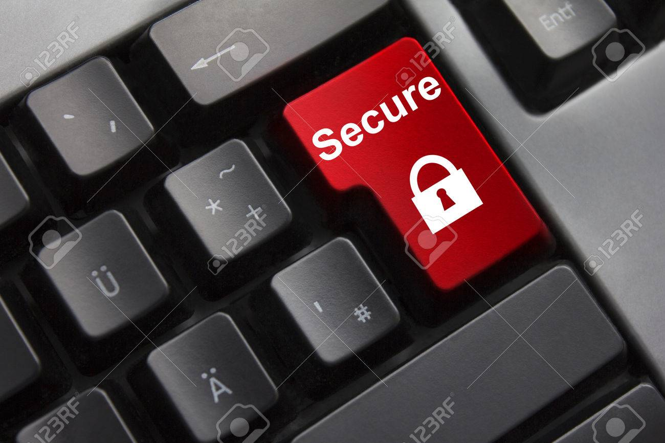 dark grey keyboard red enter button secure lock symbol - 32312240
