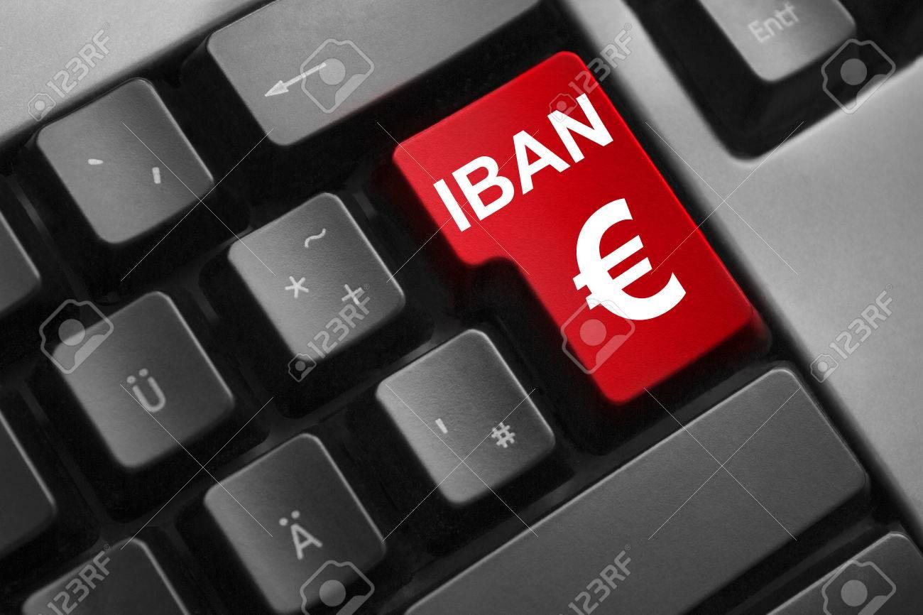 dark grey keyboard red button iban euro symbol - 32615175