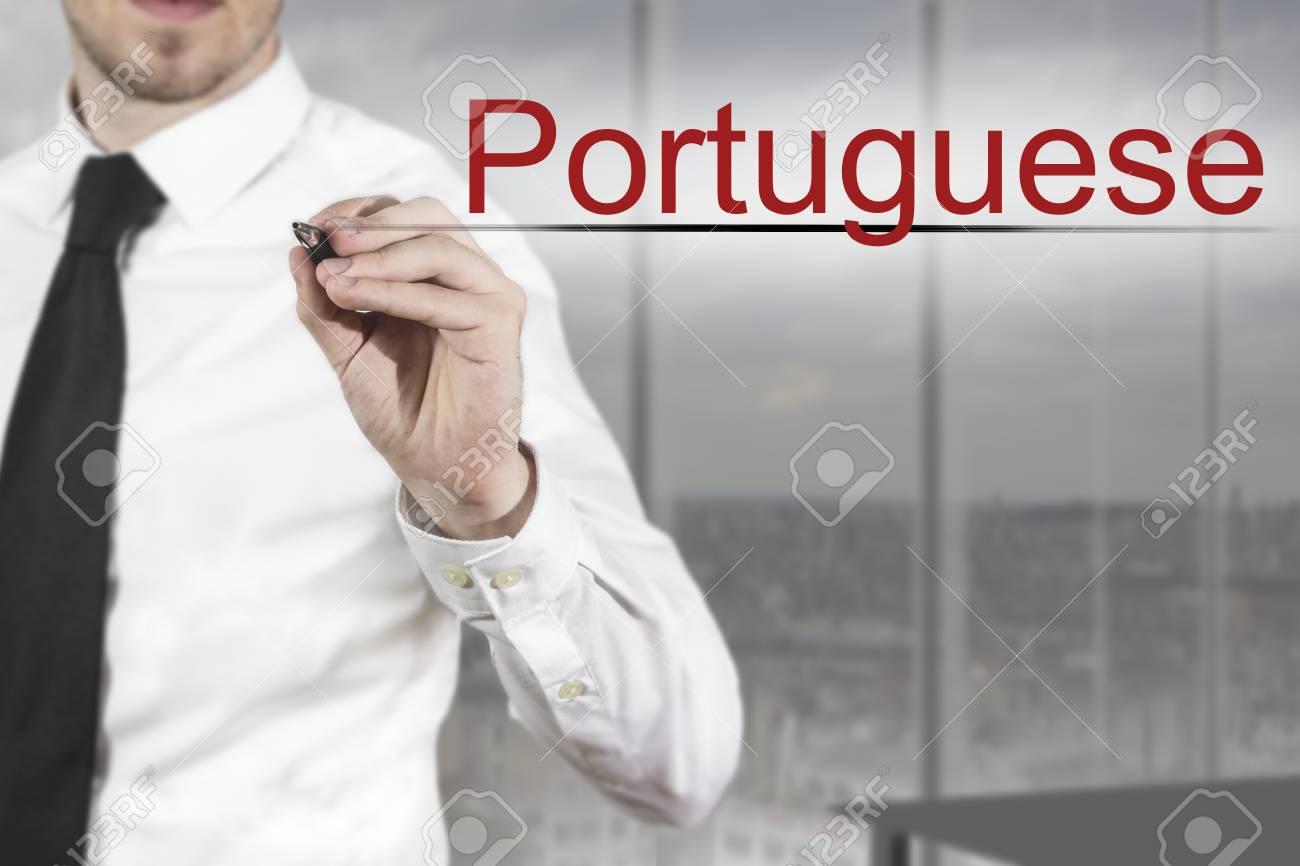 Affaires dans le bureau portugais écrit dans l air banque d images