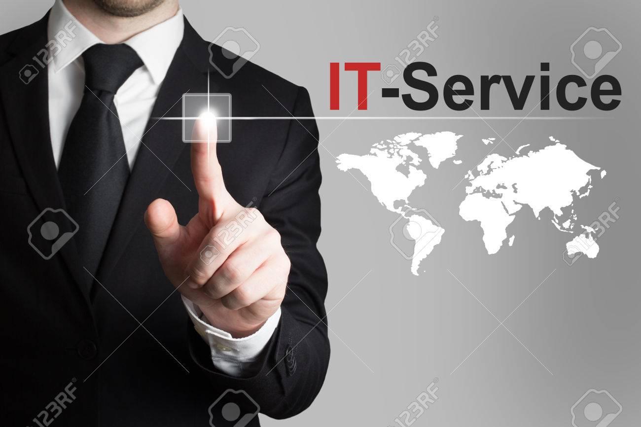 businessman pushing button it service international worldmap - 36292203