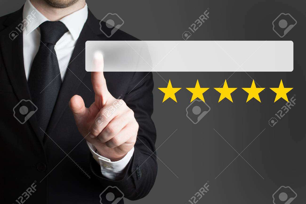 businessman in suit pushing button five rating stars - 37723945