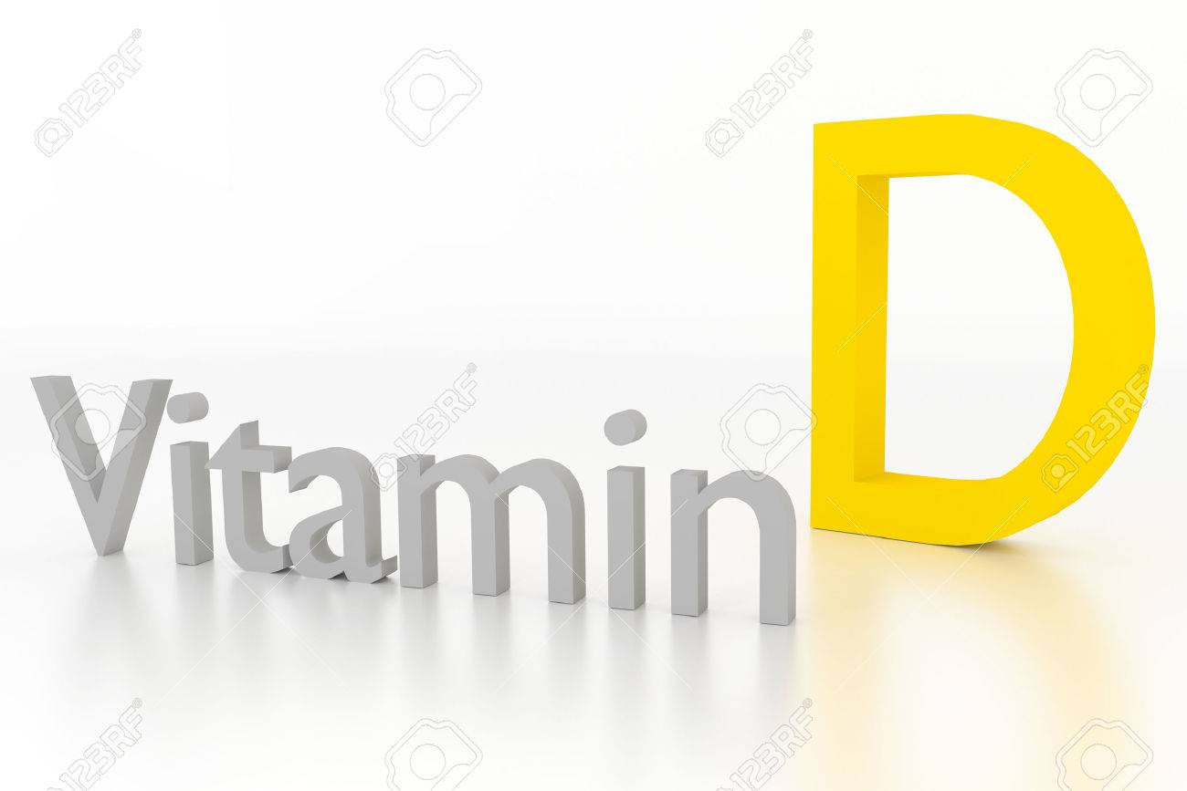 vitamin d 3d illustration on white glossy surface - 39430432