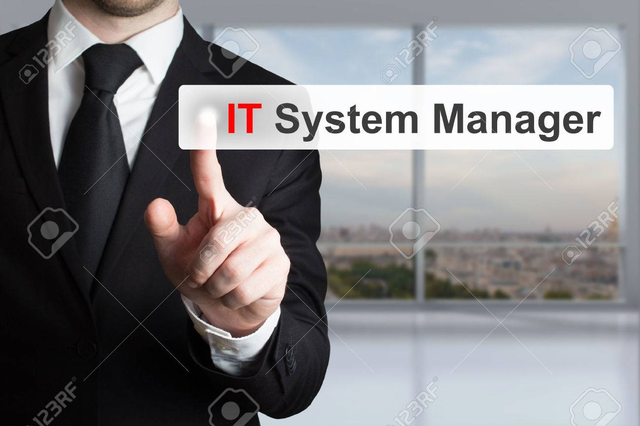 businessman in office pushing touchscreen button it system manager - 41981683