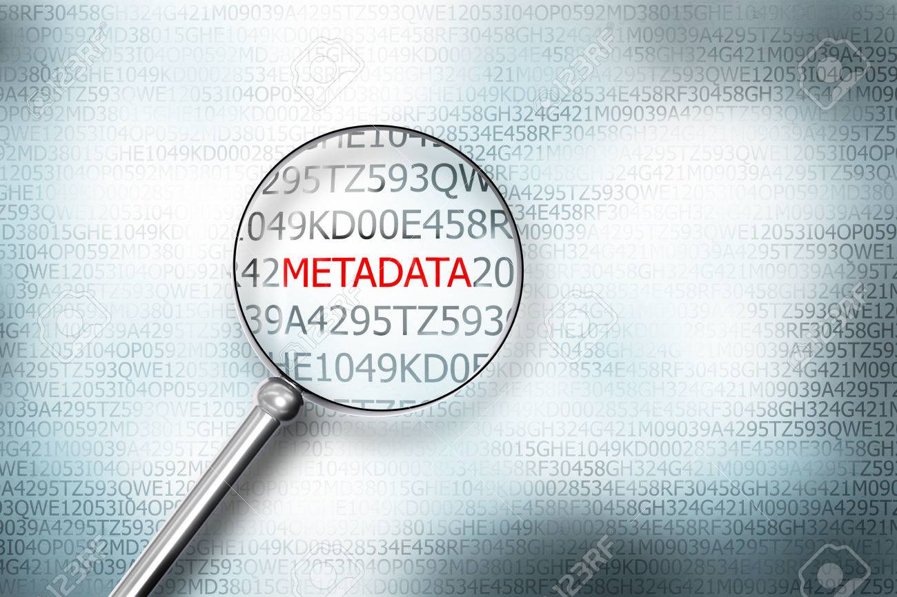 reading word metadata on digital computer screen with a magnifying glass internet security - 50831909