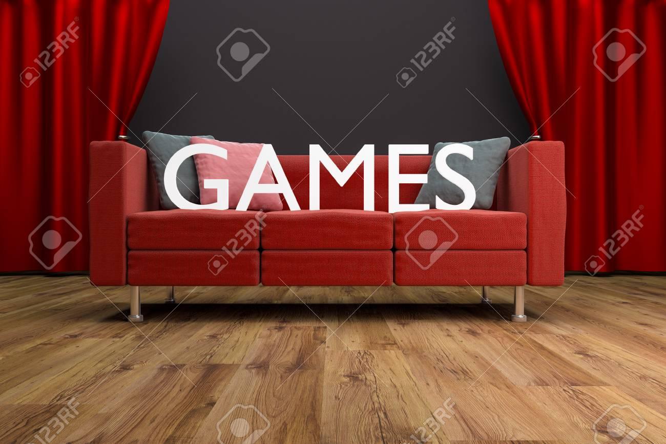 Rote Couch Spiele Vor Großen Kino Vorhang Spiele Interior