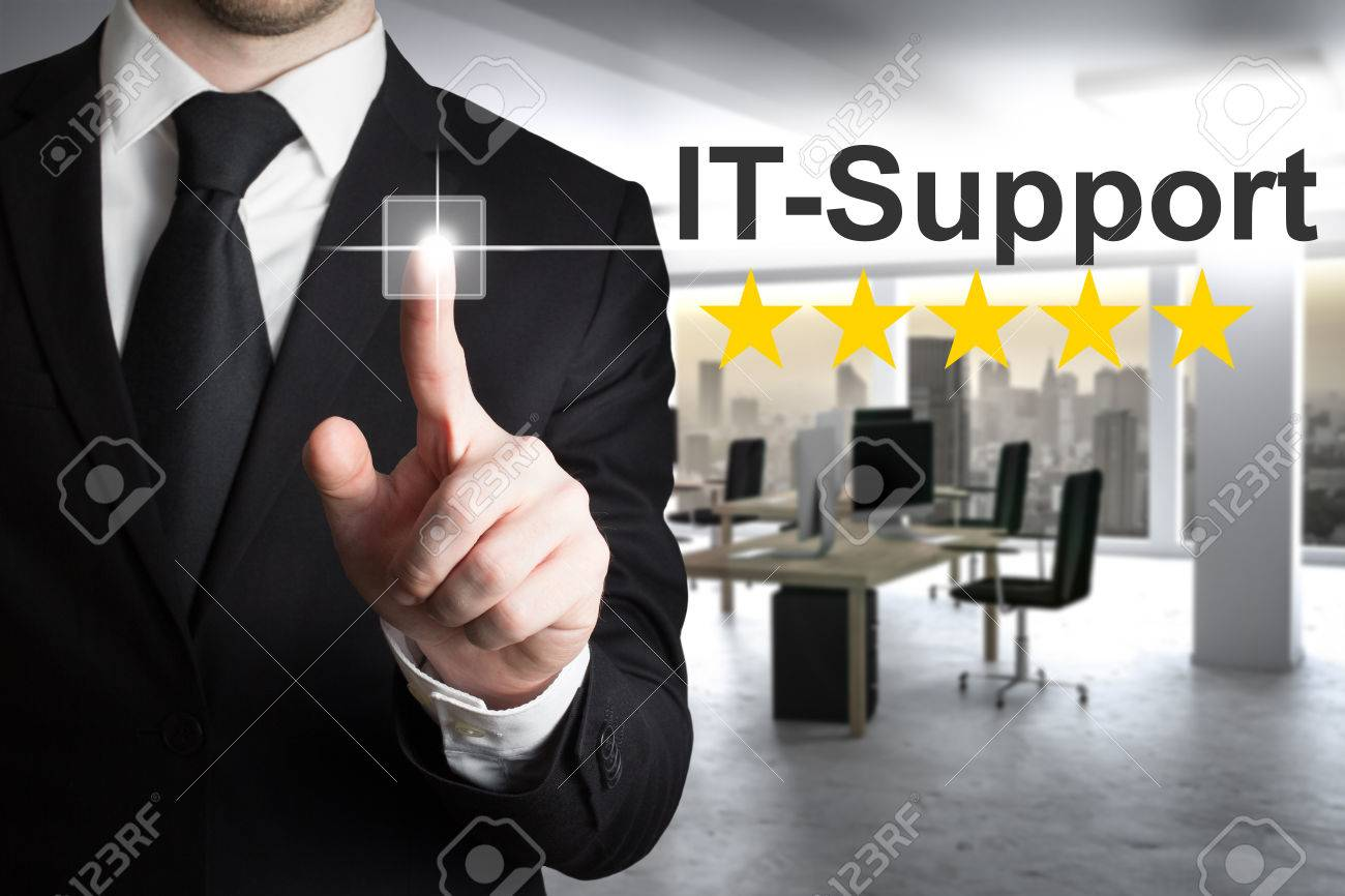 businessman pushing touchscreen button it support in modern office - 61823843