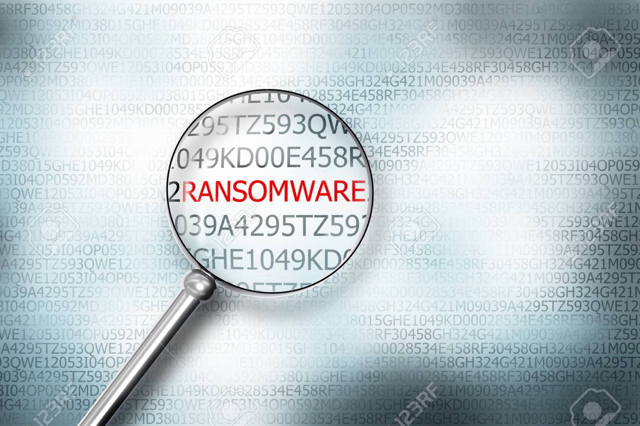 reading ransomware digital computer screen magnifying glass 3D Illustration - 65269578