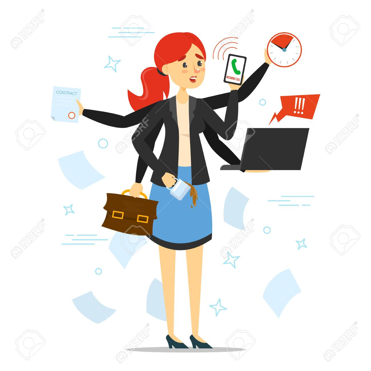 Busy Woman Trying To Do Many Things At Once Vector Isolated... Royalty Free  Cliparts, Vectors, And Stock Illustration. Image 140185381.
