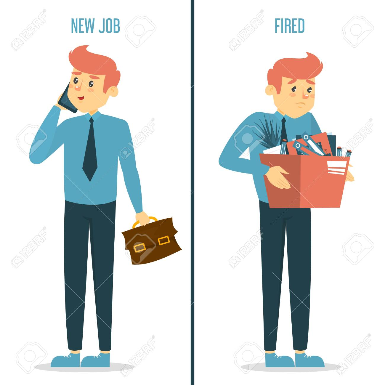 New job vs fired concept. Happy man on new work and sad dismissed guy with box. Idea of unemployment and crisis. Employee under stress. - 145957858