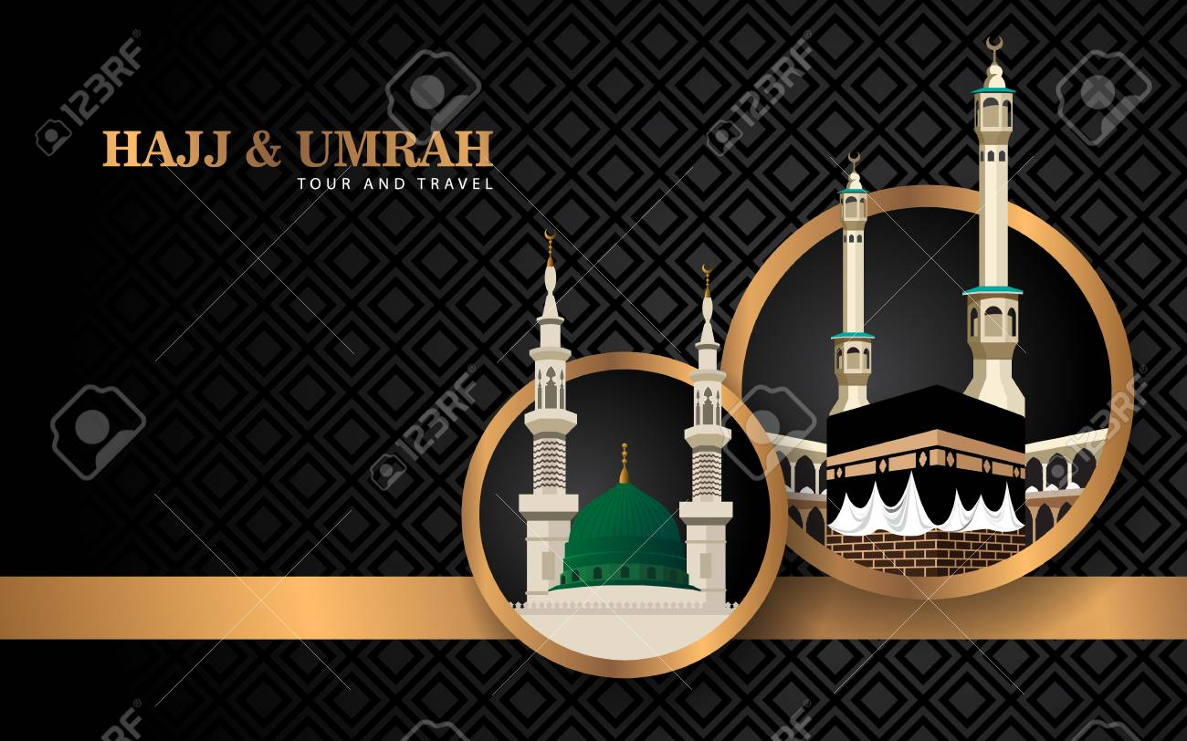 hajj and umrah banner concept with luxury design and mosque - 110864757