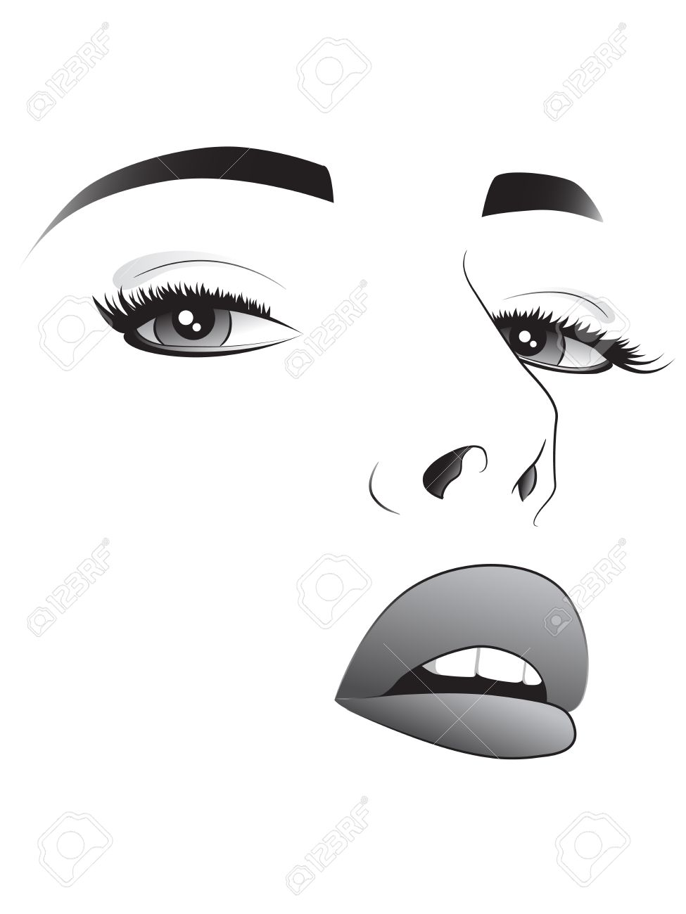 Pretty Woman Face Drawing Sketch of a Pretty Woman Face