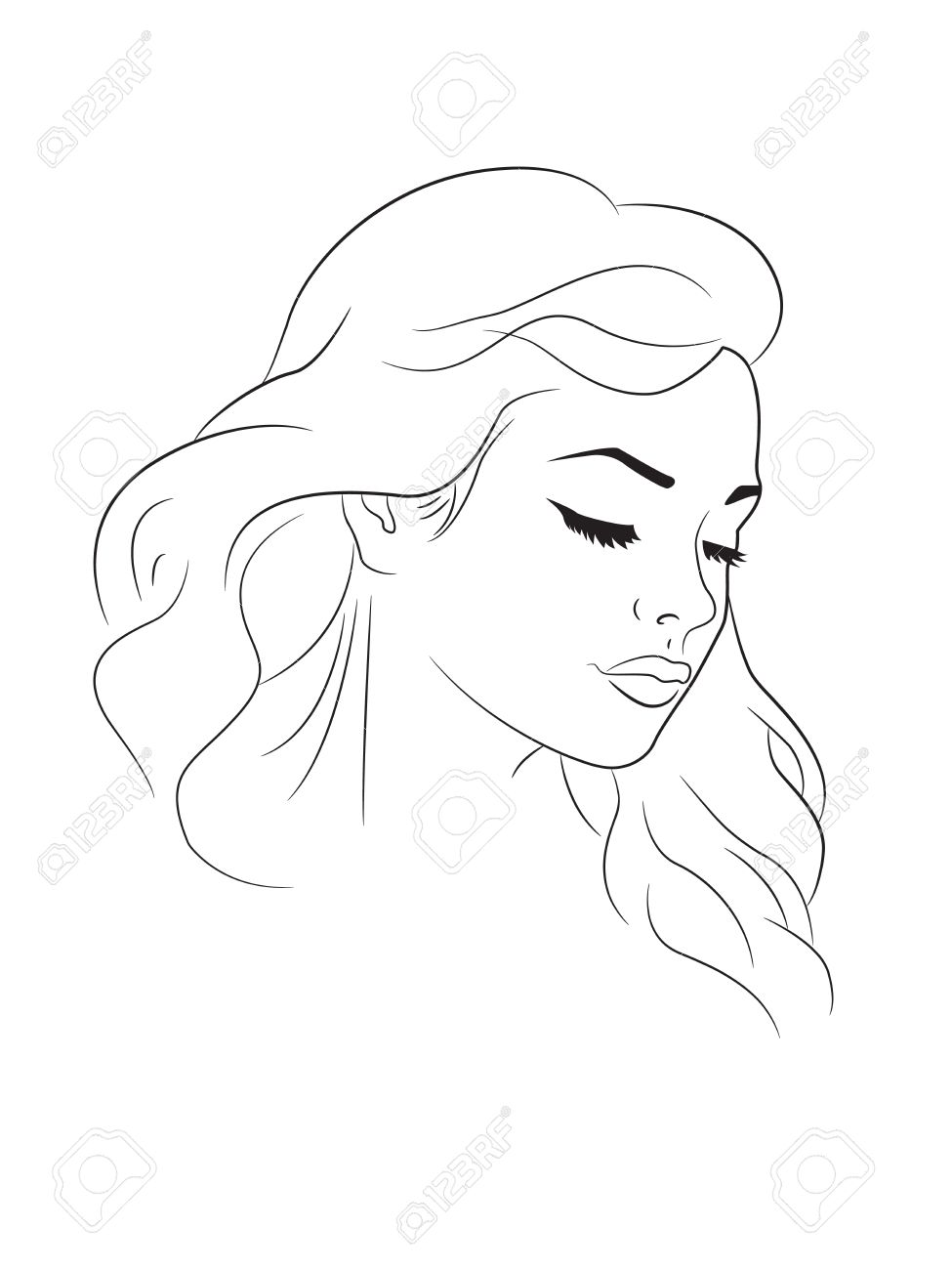 Outline drawing of a young woman head stock vector 31504192
