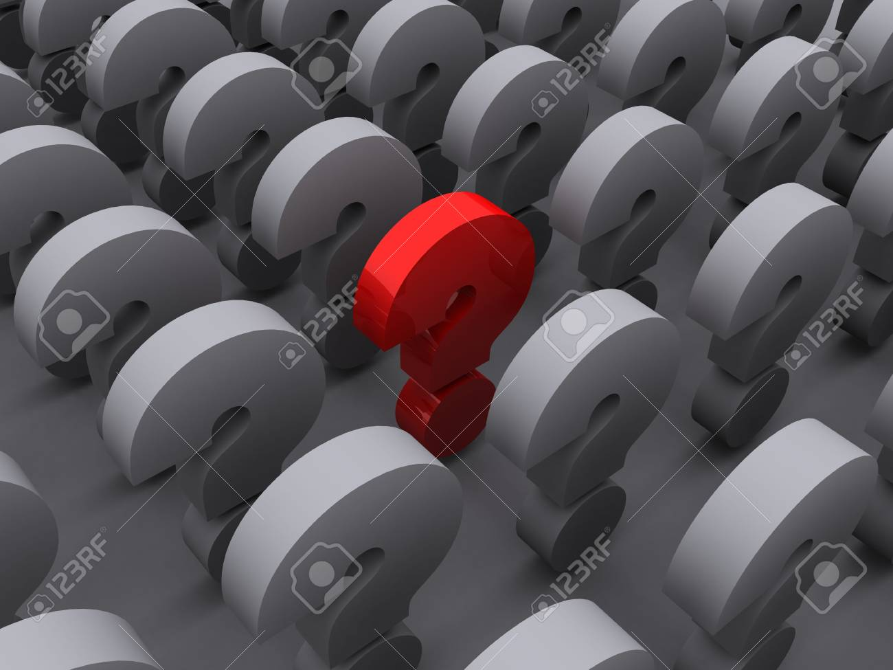 grey question marks with a red one standing out Stock Photo - 6481340