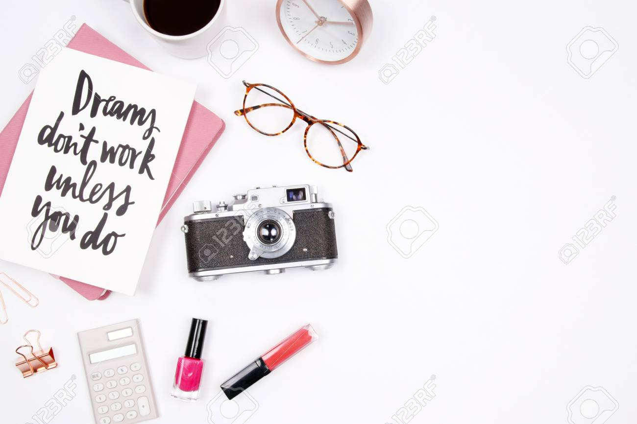 Stock Photo - Women s home office desk workspace with handwritten quote  notebook 251cab94c1