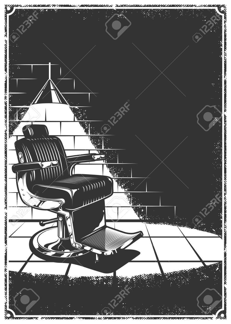 Vintage Barbershop Background With Barber Chair Lamp Light