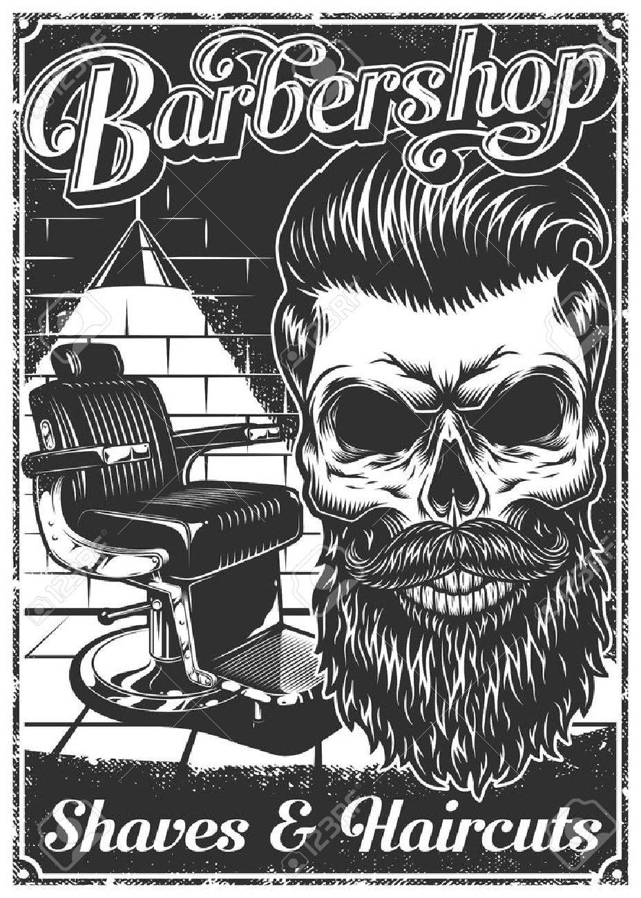 vintage barbershop poster with barber chair skull text and