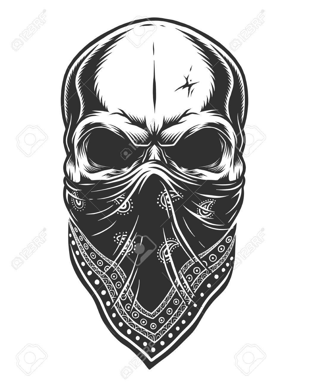 Illustration Of Skull In Bandana On Face Monochrome Line Work