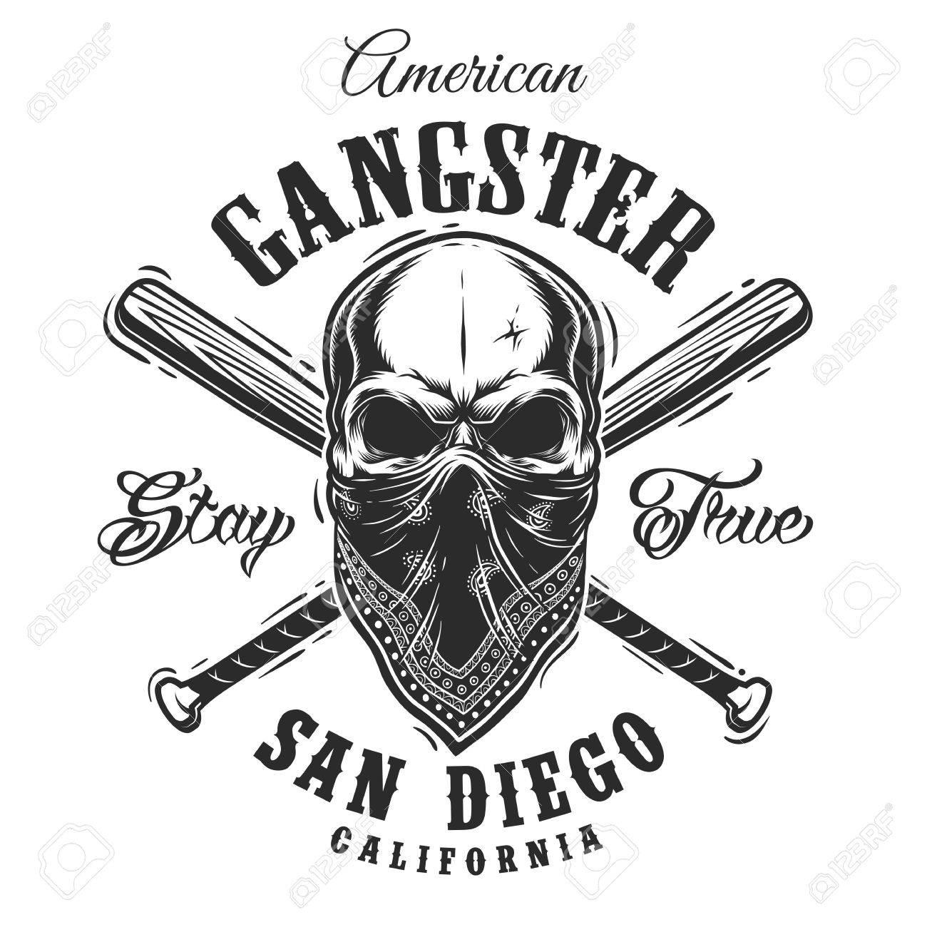 Gangster Emblem, Etikett, Drucken, Abzeichen Mit Dem Schädel In ...