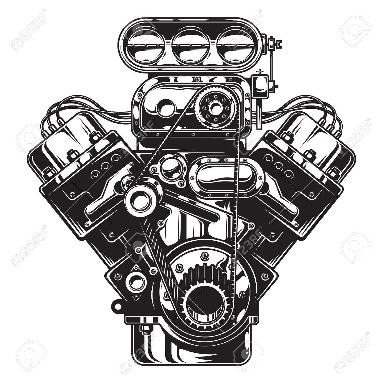 Isolated illustration of car engine on white layout. - 74858419