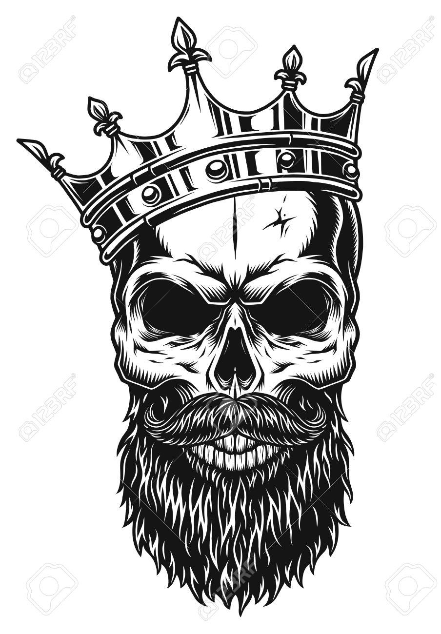 Ilustración De Cráneo Blanco Y Negro En La Corona Con Barba Aislada