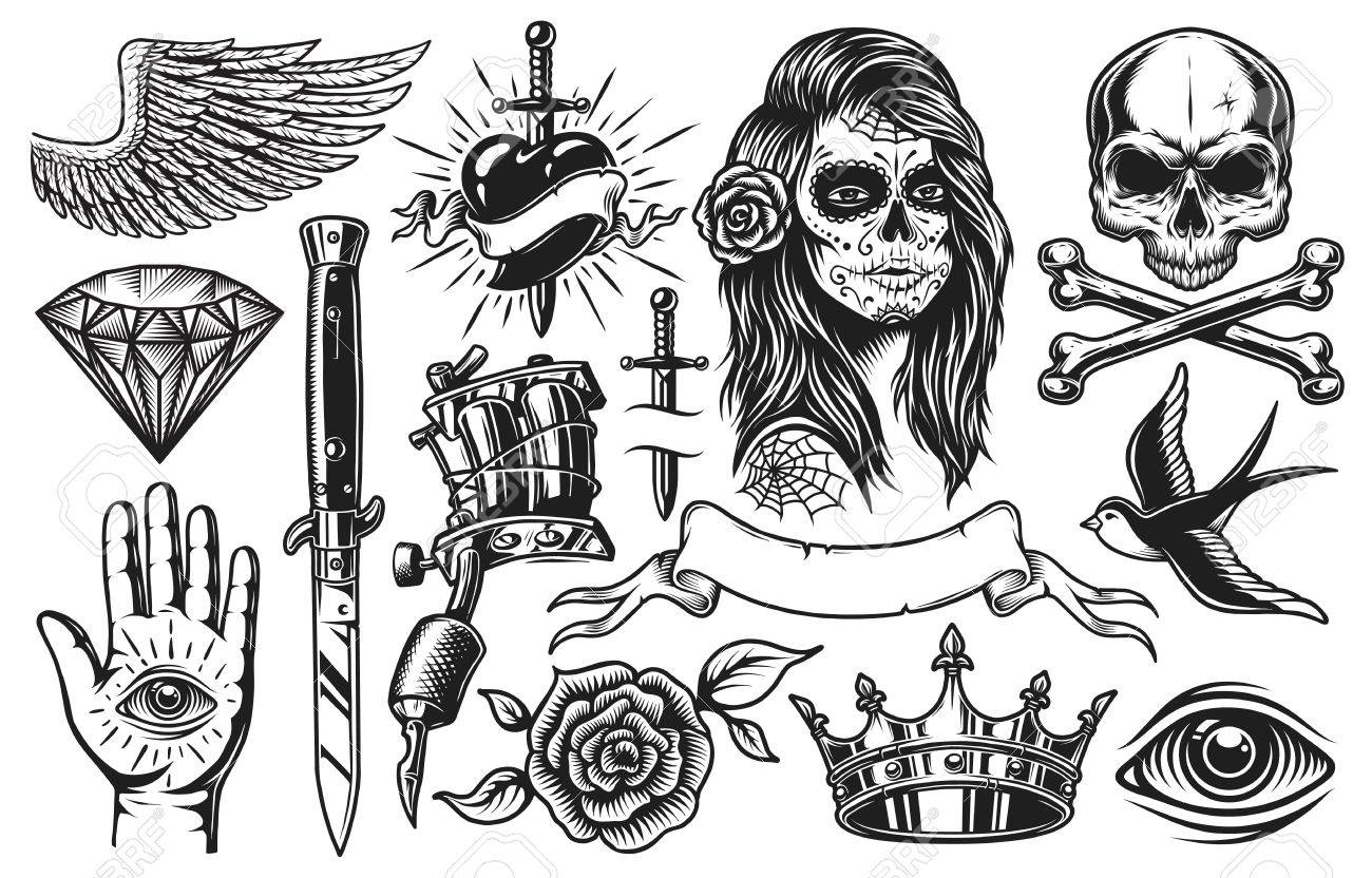 Set Of Vintage Black And White Tattoo Elements Isolated On White