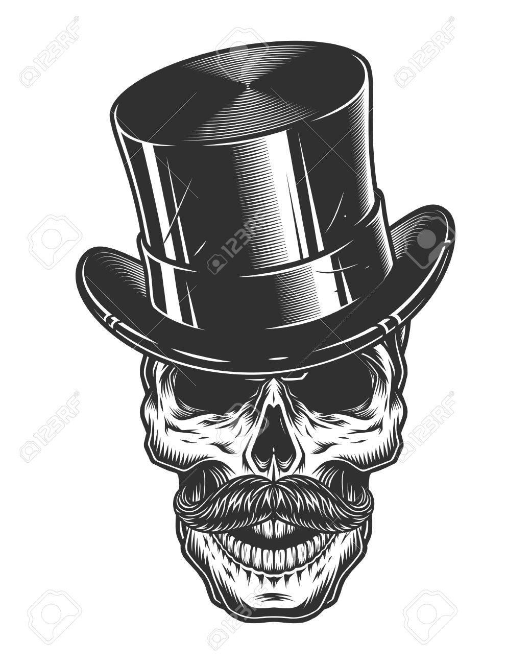 Foto de archivo - Monocromo ilustración de cráneo con sombrero de copa y  bigote aisladas sobre fondo blanco 01fe8512c21