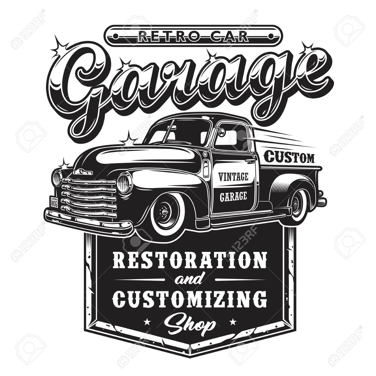 d0211c52a3313 Retro car repair garage sign with retro style truck. Custom restoration..
