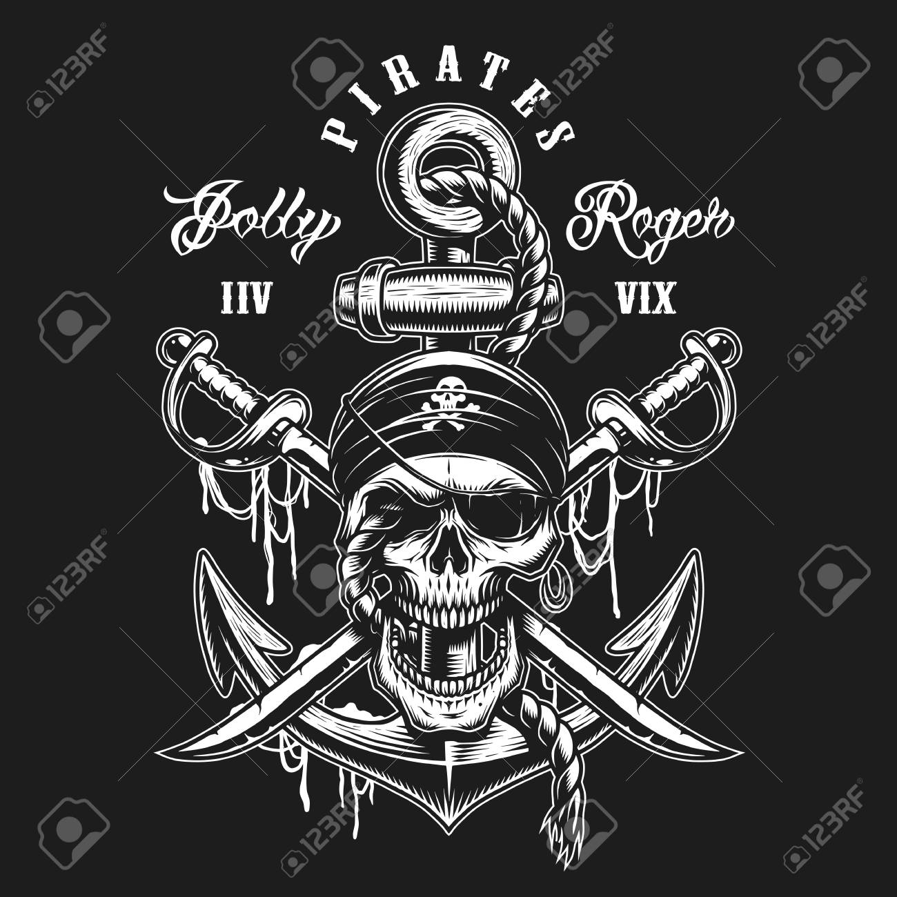 Pirate skull emblem with swords, anchor and rope. On dark background - 89461686