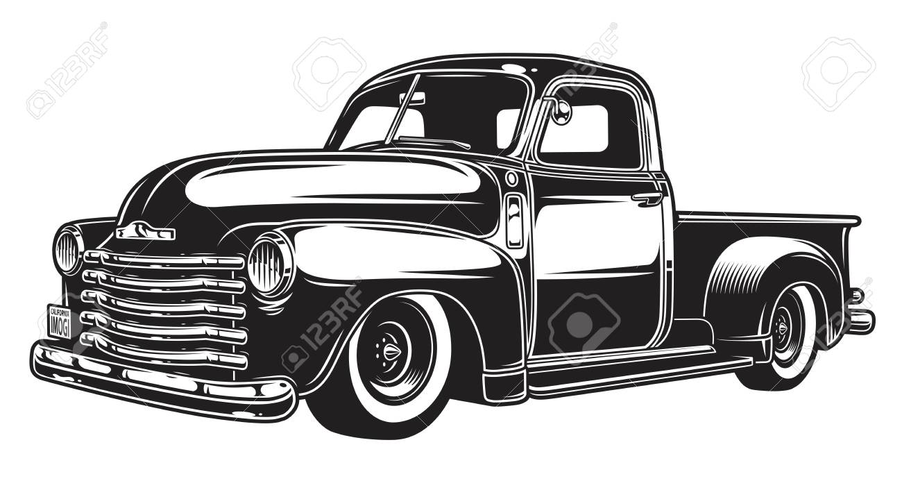 Monochrome illustration of classic retro style truck. Isolated on white. - 89461689