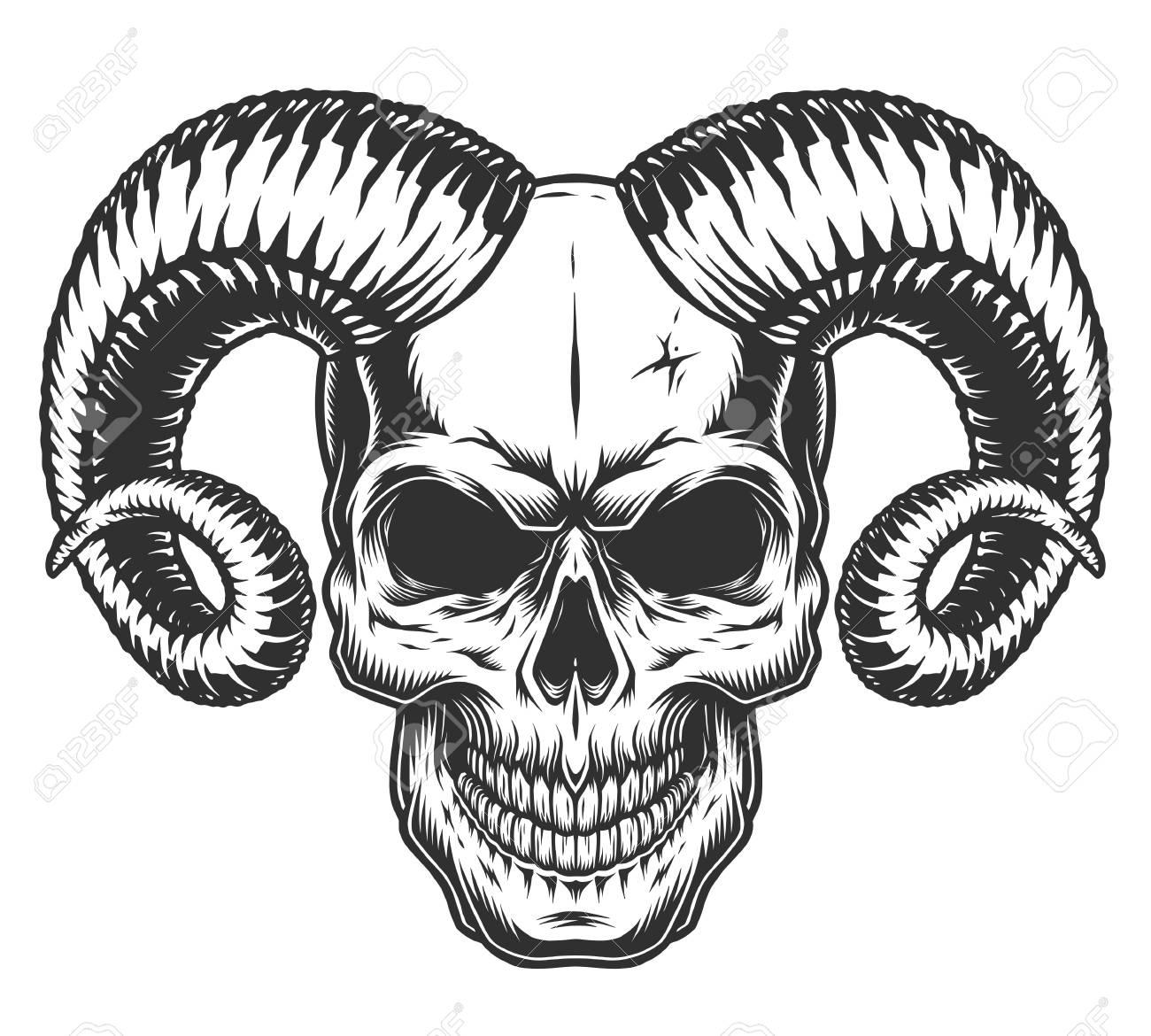 Skull with horns Vector illustration. - 97379389